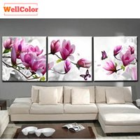 RUBOS Magnolia flowers modular pictures triptych wall painti...