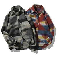 camicie di flanella Magliette folk-custom per uomo Camicia casual vintage in lana modello casual da uomo taglie forti Streetwear