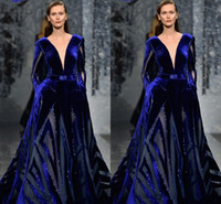 Ziad Nakad Long Sleeve Prom Dress Modest Sexy Deep V Neck Mi...