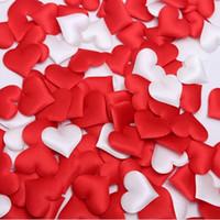 100 adet 3.2 cm DIY Kalp yaprakları düğün süslemeleri Saten Kalp Şekilli Kumaş Yapay çiçek yaprakları düğün dekor malzemeleri