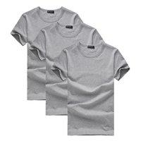 Мужчины О-образным вырезом пионерский лагерь пакет из 3 продвижение с коротким рукавом футболки мужчины брендовая одежда лето твердые футболки мужские случайные тройники
