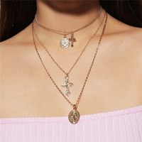 Multilayer necklaces Jewelry Micro Virgin Mary Oval Medal Pe...