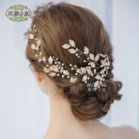 2018 New Exquisite Bridal Gold Leaf Headdress   Explosive Ha...