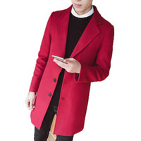2017 New Fashion Long Trench Coatc reamy- white Red wine Men ...