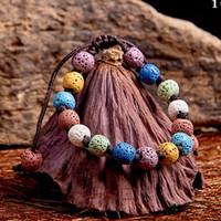 8 스타일 패션 Bohemian 용암 스톤 쥬얼리 실버 도금 에센셜 오일 디퓨저 팔찌를위한 패션 Baxian 용암 돌 여러 가지 빛깔의 팔찌 팔찌
