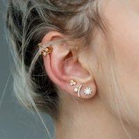 Vergoldete geometrische runde cz bar ohrring für frauen mädchen geschenk gurte feuer opal edelstein eleganz hochwertige mode modische frauen geschenk