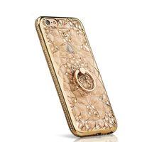 아이폰 7 8 케이스에 대 한 경우 럭셔리 골드 반짝이 부드러운 다시 커버 다이아몬드 반지 전화 케이스 iPhone8 7 플러스