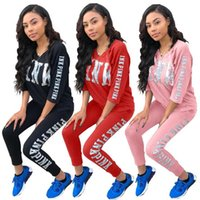 Pink Silver Letter Print Women Pant Top Casual Outfit Sweat ...
