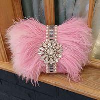 Новая мода горный хрусталь вечером мешок перо страуса мешок диагональный цепь плеча женские сумки