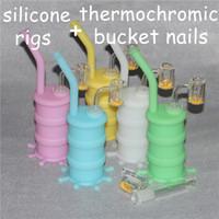 Hot Silicon Rigs Waterpipe Silicong Hookah Bongs Silicon Dab Rigs Cuarzo Termocromático Bucket Banger Nails nectar colector set bubbler bong