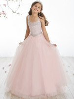 Pretty Pink Tulle Halter Beads Flower Girl Dresses Girls...