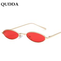 67e942efa53b0 QUDDA Vintage Pequeno Oval Óculos De Sol Da Marca de Moda Mulheres Homens  de Metal Moldura