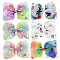 8 inch Jojo bow ribbed ribbon colorful printing children bow...