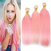 8A Blonde Roots Pink Human Hair 3 Bundles Silky Straight Two...