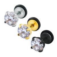 Orecchini con zirconi cubici Studs Donna Uomo Acciaio inossidabile Ear Piercing Stud orecchino Piccole donne uomini spike vite metallo gioielli maschili