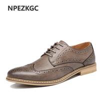 NPEZKGC Moda Vintage Estilo Británico Hombres Zapatos Casuales Oxfords  Hombre de Negocios Planos Calzado Transpirable Cómodo 26378e042ac
