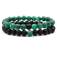 8mm 2pc / Set Bracciale in malachite perline in pietra naturale Bracciali per donna Amanti Bracciale amico regalo