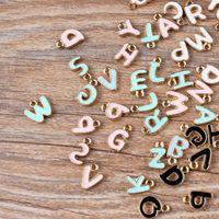 5 компл. мини-заказ мятный синий эмаль письмо подвески золотой тон падение масла алфавит начальный браслет ожерелье плавающий Шарм