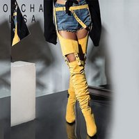 ORCHA LISA Sexy Flock High heel over Knee boots Women heeled...