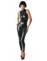 New Wetlook Faux PU en cuir pour Bodysuit femmes Zipper Ouvert Entrejambe Boîte de nuit costume sexy manches stretch Combinaison moulante Clubwear