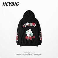 Tide  sweatshirt men and women New Hip-hop Hooded hedging National tide coat Korean Students Loose Roses Printing Hoodies