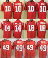 NCAA OLE Miss المتمردين كرة القدم 10 Eli Manning Jersey Sec College 10 Chad Kelly 14 Bo Wallace 18 Achie Manning 49 Patrick Willis Stitched Red