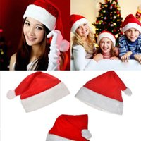 Red Christmas Hat Soft Pleuche Santa Claus Hats Adult Childr...