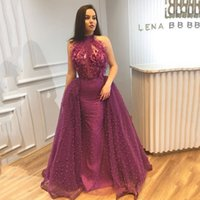 High Neck Grape Evening Dresses Sleeveless Beaded Prom Gowns With Applique With Tulle Train Custom Made Formal Party Gowns New Coming