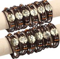 Ms pulseira de jóias retro multicamadas tan 12 zodíaco fivelas casais punk trançado de couro pulseira mulheres é pequeno adornam artigo
