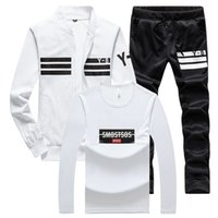 Anzug Männer Sets Kragen Sport Anzug Jacke Stand + Jogginghose + Shirt Herrenkleidung 3 Stück Set Schlank Sportwear Male Lässige Sets