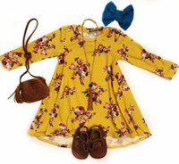 3colors Girls big flowers long sleeve dress Toddlers cute fl...