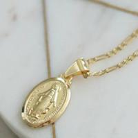 Cor do ouro do vintage colar de pingente de cruz homens mulheres jesus  virgem maria colares b90746f7c4