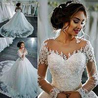 Incrível puro vestidos de noiva de pescoço barato laço applique beads ilusão mangas compridas vestidos de noiva longos botões de trem plus tamanho vestido de noiva