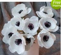 Flores de boda Real Touch Anémonas blancas Flores de PU Anémonas artificiales para mesa Bouquet Centros de mesa Flores naturales de PU
