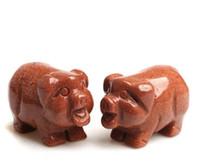 """1.57 """"Art de presse-papiers cochon sculpté à la main de cochon en cristal naturel de pierres dorées naturelles"""