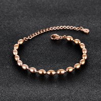 Friendship Gift Rose Gold Stainless Steel Beads Bracelet wit...