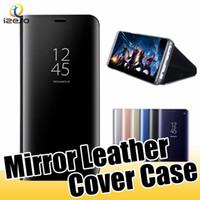 Для Samsung A90 A80 A50 A20E S10 iPhone 11 Смарт Kickstand Корпус зеркала вид Флип Stand Sleep Wake телефон Случаи с розничной упаковке