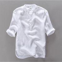 2017 New fashion  men shirt short sleeve casual shirt men linen clothing mens shirts flax camisa masculina chemise 3XL
