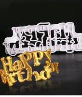Yueyue sugarcraft Feliz Aniversário Bolo Fondant Cutter Cake Tools Cortador