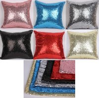 Glitter Sequin Pillow Case Solid Color Cushion Cases Cover C...