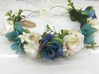 Custom made crianças flores azuis coroa simulação guirlandas flores princesa das meninas crianças Lace-up empate rattan tecelagem coroa A00484