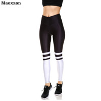 Maoxzon Womens High Waist Sexy Workout Fitness Slim Leggings Trousers For Female Striped Print Gymnasium Elastic Skinny Pants XS