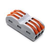 (10 adet / grup) 222-413 SPL-3 tipi Evrensel Kompakt 3 tel bağlayıcı 32A 3 pinli Iletken Terminal Bloğu kullanımlık kablo konektörü