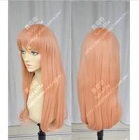 Meine Liebesgeschichte Long Orange Pink Gerade Cosplay Perücke Haar