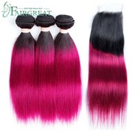 Peruvian Pre- Colored Ombre T1B 118 Straight Hair Bundles Wit...