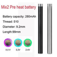 100% Orijinal 510 Konu MIX2 280 mAh Ön ısıtma Pil Kalın yağ Buharlaştırıcı Kartuş için Düğme Pilsiz Dokunmatik Pil Ecig Piller