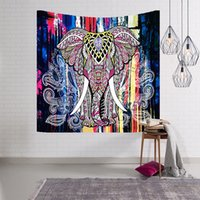 Indian Elephant Tapestry Aubusson Colored Printed Decor Mand...