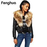 Fenghua 2018 Winter PU Leather Fur Coats Slim Faux Fur Women...