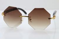الراقية العلامة التجارية بدون إطار بصري النظارات الشمسية الساخنة ذات نوعية جيدة أبيض من الداخل اسود بافالو القرن التشذيب عدسة النظارات الشمسية 4189706