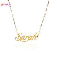 """Kundenspezifische Namen Halskette Frauen Personalisierte Namensschild Halskette """"Sarah"""" Edelstahl Gold und Silber Customized Schmuck Halskette, NL-2392"""